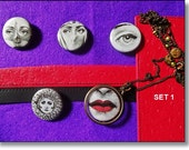 Piero Fornasetti, 5 badges, Pins, Jewelry, Pendants, Necklace, Framed Art, Brooch, Jewellery Supply Set 1