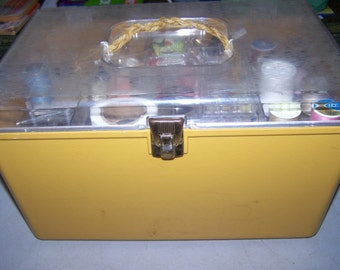 Vintage Yellow Plastic Sewing Box and Accessories