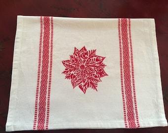 Red Work Tea towel