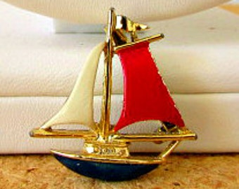 vintage 80s Gerrys red white blue enamel sailboat pin brooch nautical sailing