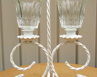 vintage 70s white twisted metal candle centerpiece votive cup holder home interiors cottage shabby chic