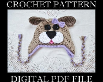 PDF PATTERN - Full Face Puppy Dog Crochet Hat Pattern