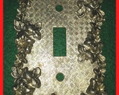 Vintage Brass Single Switchplate Cover Electrical Floral Design AT & HC