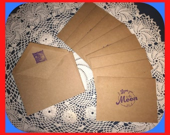 NOTE CARDS Love  You to The Moon and Back Kraft Card Stock Set 8