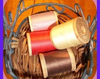 Vintage WOOD SPOOLS Thread Belding Corticelli Bel-wax Mercerized Cotton 1950s 4 Spools Stamped