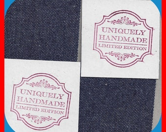 Tags UNIQUELY Handmade Limited Edition Stamped DENIM Backed 15