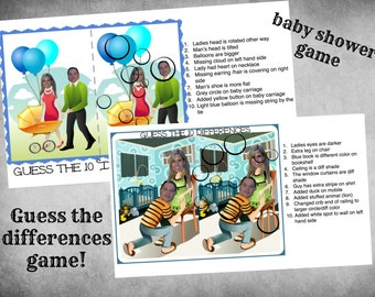 Find the Differences Game - Baby Shower Game-Custom Download