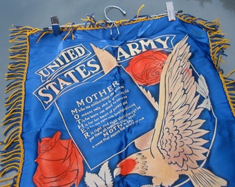 Pillow Sham ~ United States Army ~ Poem to Mother ~ Ft. Meade, Maryland