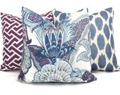 Hyacin Zanzibar Decorative Pillow Cover 18x18, 20x20, 22x22, 24x24, Eurosham or Lumbar Pillow, Schumacher purple toile pillow