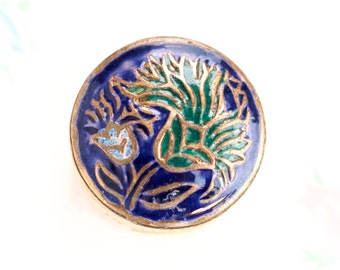 Snuff Box or Pill Box - Blue Enamel Flower Inlay - Cloisonne