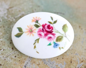 Dainty Pink Flowers Brooch - Porcelain Lapel Pin - Made in England by Crown