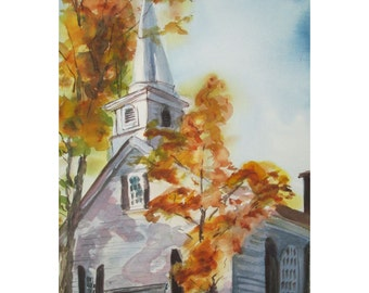 The Waterloo United Methodist Church in Stanhope, New Jersey - an Original Watercolor