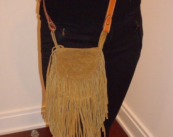 Fringe suede hippie bag