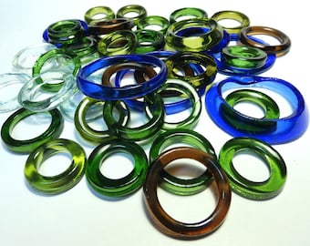 Recycled  Multi Colors Recycled Kiln Polished Bottle Rings 36 Rings (R959)