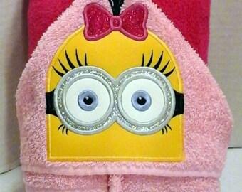Girl Minion Hooded Towel