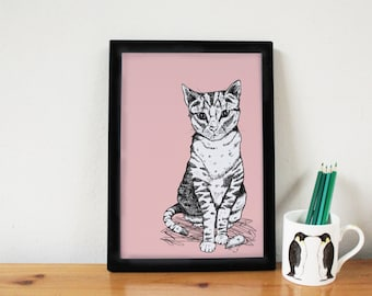 Cat Print - cat art - cat drawing - nursery print - baby shower - cat lover gift - cat illustration -cute print - nursery decor - pink - cat