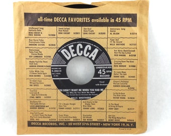 Mills Brothers 45 LP Record Vintage Vinyl Unbreakable Decca Records 1954 Jazz You Didn't Want Me When You Had Me