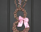 Easter Bunny Wreath - Bunny Wreath - Spring Wreath  - Easter Rabbit Decoation - Choose Bow Color-