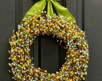 Front Door Wreath - Berry Wreath - Door Decoration - You Choose Bow - Many Options