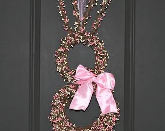 Easter Bunny Wreath - Bunny Wreath - Spring Wreath  - Easter Rabbit Decoation - Choose Bow Color-