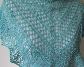 Light Turquoise Knitted Lace Shawl