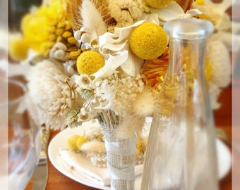 Yellow Wedding Bouquet - Dried & Preserved Flowers - bridal bouquets - hydrangea sola bill balls  - Sunny Collection w/ Protea