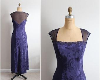 90s Purple Rain Victoria Secrets Slip Dress / Vintage Nightgown / Wedding / 90s VS