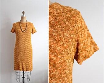 60s Textured Mod Dress / Leaves Dress / 1960s / Size S/M