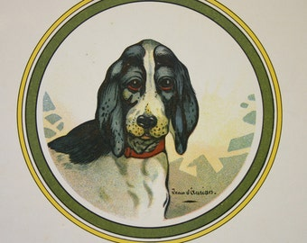 Bleu d'Auvergne Print Vintage French Dog Illustration