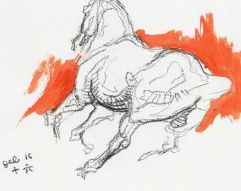 Original Sketch of a galoping horse, Animal, Contemporary Original Study