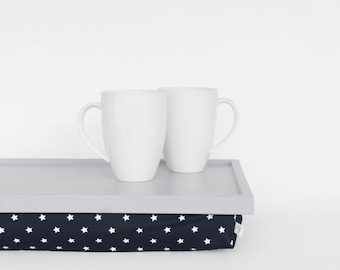 Breakfasts in bed serving tray with support pillow, lap desk - light grey tray,  navy with white stars print pillow
