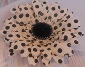 Silk Polka Dot Daisy / Cream And Black Daisy / Fake Flowers / Artificial Flowers / Crafting Flowers / Silk Florals / DIYHair Flowers