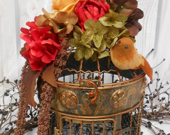Silk Floral Arrangement Sale / Birdcage Arrangement / Fall Home Decor / Home And Living / Table Centerpiece / Fall Centerpiece / Fall Cage