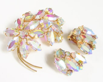 Vintage Large Aurora Rhinestone Flower Brooch Earrings 1960s Wedding Bridal