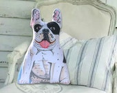 Black and White French Bulldog -  Front only - Dog Pillow - Stuffed Animal