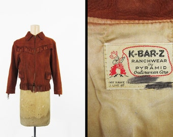 Vintage 50s Fringe Leather Jacket K-Bar-Z Ranchwear Brown Suede - Small / XS