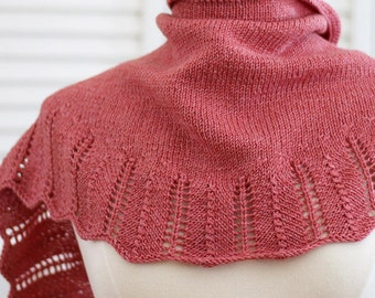 Knitting Pattern Scarf - Ethel Shawl, Coral Wool