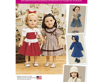 "Simplicity Pattern 1245 Vintage Style 18"" Doll Clothes ~ Keepers Dolly Duds ~ Uncut and Factory Folded"