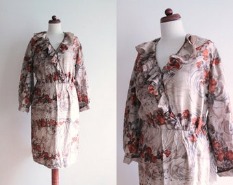 Vintage Silk Dress - 1970's Floral Dress with Ruffles - Size M