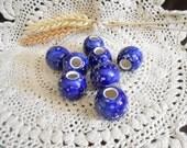 8 Sm Glazed Ceramic Macrame Beads-Round Shaped-Handcrafted-Blue-Night Frost-SR16