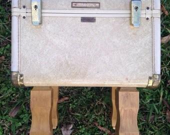 Vintage train case, beige train case, upcycled train case