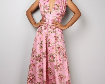 Pink Dress - Sleeveless Pink Floral Dress  - Boho Maxi Dress : Oriental Secrets Collection