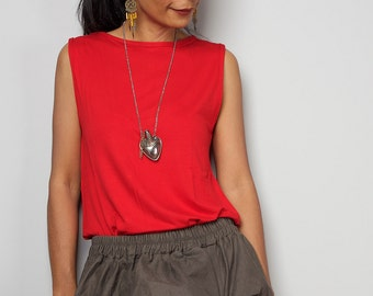 Red Top / Sleeveless Red T Shirt / Red Tank Top : Urban Chic Collection No.4