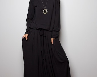 Black Dress -  Long Sleeve Modest Black Maxi Dress : MODEST Collection No.1s