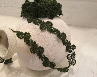 Vintage Deep Olive Khaki Green Flower Lace Trim, Vintage Lace, Vintage Cotton Millinery Lace, Vintage Sewing  Craft Supplies