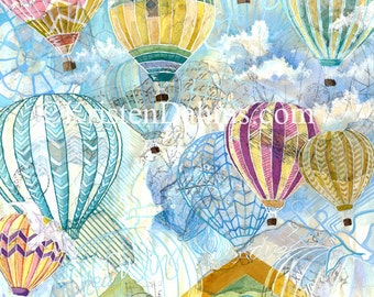Hot Air Ballon PRINT - Original Watercolor Painting
