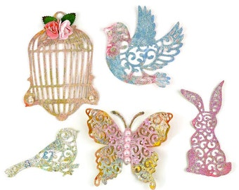 Shabby Chic Vintage Glitter Paper Embellishment Die cuts 5 Set | Butterfly, Dove, Bird Cage, Rabbit, Bird Scrapbook Embellishments. Vintage