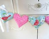 Bird Heart Garland / Salmon Pink Birds / Fabric Heart Garland / String Hearts / Robins Egg Blue / Pillow Heart Garland / Valentine Garland