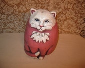 Pink Concrete Chubby Cat statue with tattoo whimsicle fat kitty