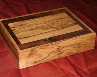 Jewelry Box, Watch Box, Valet, Handmade,  Black Limba, Black Walnut, Padouk (JB0061)